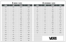 Vans Size Chart Vans Shoes Size Chart