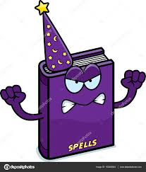 a cartoon ilration of a spell book looking angry vector by cthoman