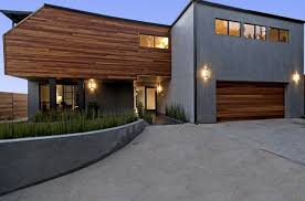 gray stucco wooden modern siding options combination house design spaceful front yard80