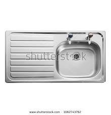kitchen sink top view. Kitchen Sink Top View With Faucet Isolated On White Background. Single Bowl Sinker. Stainless