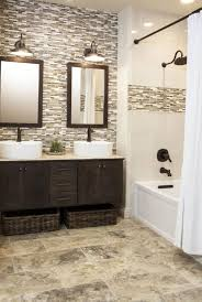 wooden framed mirror with elegant white curtain using simple bathroom wall removal ideas and elegant textured floor tiles