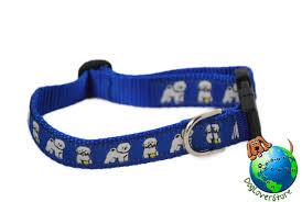 bichon frise dog breed adjule nylon collar um 10 16 blue
