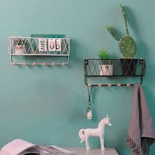 storage baskets hallway hanging shelf