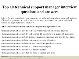 top10technicalsupportmanagerinterviewquestionsandanswers 150405090844 conversion gate01 thumbnail 4jpgcb1428242974 product support manager resume