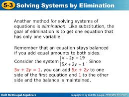 holt mcdougal algebra 1 5 3 solving systems by elimination another method for solving systems