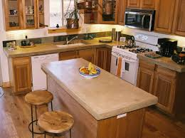 Concrete Kitchen Floor Kitchen Minimalist Kitchen Island With Brown Concrete Countertop