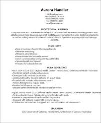 Mental Health Professional Resume Sample Best Of Professional Behavioral Health Technician Templates To Showcase Your