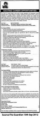 service technician s engineer depot tayoa employment portal job description