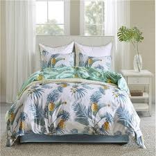 modern leaves boho style polyester fiber bedding set 2 pillowcase duvet cover set usa king queen twin size bedlinen bed set queen size bedding sets lime