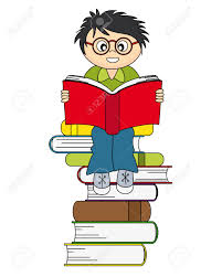 banco de imagens boy reading a book drawing isolated white background