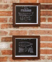 evergreen framed ship blueprint wall
