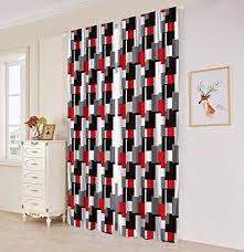 Amazon.com: Plaid Bedroom Window Curtains, Black & White & Red ...