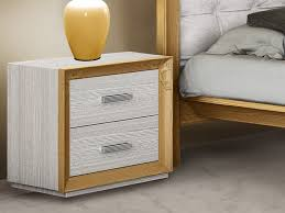 unico naturia 2 drawer bedside cabinet in white and gold painted wood thumbnail