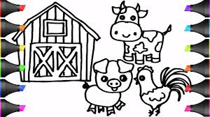 Drawing Farm Animals Cow Pig Chicken Coloring Pages Bodraw