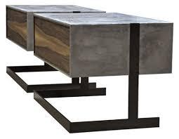 concrete side table. Contemporary Side Table / Concrete Walnut Patinated Metal B