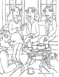 Living Room Coloring Adult Coloringfred Gonsowskis Drawings Of The Big Eyed People