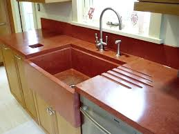 popular types kitchen countertops comparison guide specialty concrete custom red color integrated sink drainboard