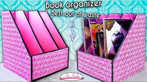 how to make book holder book organizer best out of waste diy artkala 144