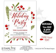 Printable Holiday Party Invitations Holiday Party Invitations Instant Download Editable Holiday Party
