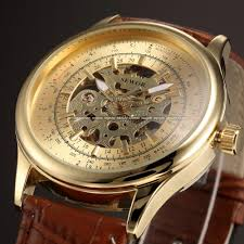 designer leather watches mens best watchess 2017 sewor new gold leather skeleton watch men from urban fashion