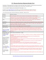 Sample Resume With Summary Statement Resume For Your Job Application