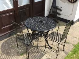 Black Cast Aluminium Garden Table 4 Chairs In Castle Point For
