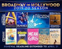 Renew Now 2019 20 Season Hollywood Pantages