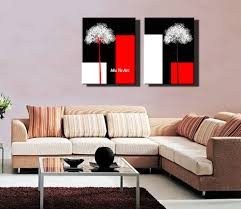 Red Black White Flower Artwork Canvas Prints Decorative Picture