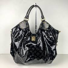 details about louis vuitton mahina surya xl black patent leather satchel tote made in france m