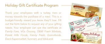 Holiday Gift Certificate Holiday Gift Certificate Program Family Fare