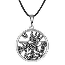 tetragrammaton pentagram pagan wiccan large pendant oxidized in sterling silver loading zoom