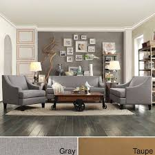 furniture for modern living. add simple elegance to your contemporary home with this modern living room furniture set from inspire q the long couch and two armchairs feature concave for
