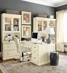 classic home office. Elegant Home Office With Classic White Furniture And Glass Display