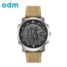 odm men watch hours with genuine leather band running watches compass thermometer weather digital watch dm056