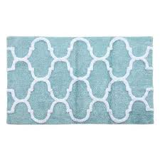 50 in x 30 in bath rug in arctic blue white