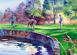 golf watercolor art vintage golfers on the green royal oaks golf course vancouver washingon water hazard golf painting flowers ducks