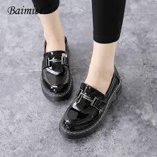 baimier 2018 fashion t metal decoration oxford shoes for women black patent leather women oxfords soft