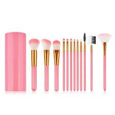 best 12 pcs pink makeup brushes with storage set loose powder brush face makeup tools newchic