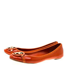 Tory Burch Orange Patent Leather Bow Ballet Flats Size 40