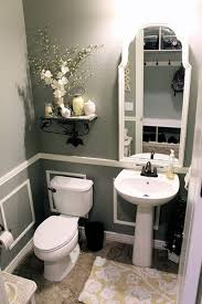 bathroom pedestal sink ideas. Gray Bathroom With White Accents, Large Framed Mirror, Pedestal Sink And Decorative Shelf Ideas