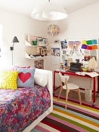 Awesome Small Spaces Teenage Girls Bedroom Design With Beautiful Colorful  Striped Rugs And Movable Red Polished ...