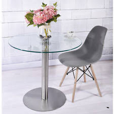 small glass dining table. Small Round Clear Tempered Glass Kitchen \u0026 Dining Table Modern Chromed Legs 80cm A