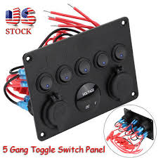 5 gang on off inline fuse box toggle switch control panel 2 usb for NH Fuse Switch at Fuse Box To Tagle Switch