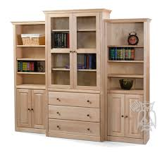 custom built face frame crown 3 piece bookcase wall unit with doors drawers in unfinished