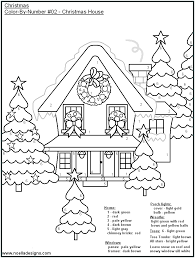 Christmas house color by number coloring page. | Holiday Kids ...