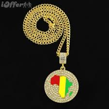 1pcs africa map icedout pendant necklace big small size