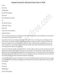 Sample Dismissal Letter Dismissal Letter Due To Theft Employee Termination Letter