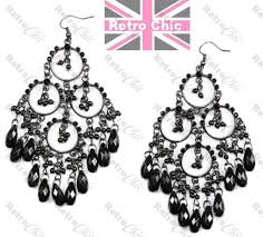 4 long big gothic chandelier earrings bead black antique vintage style next