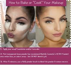 instructions on how to bake your makeup using matte face powder for oily skin by mattify