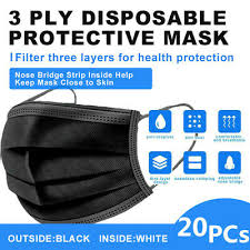 20 <b>PCS</b> BLACK 3-Ply Face Mask <b>Disposable Non Medical</b> Surgical ...
